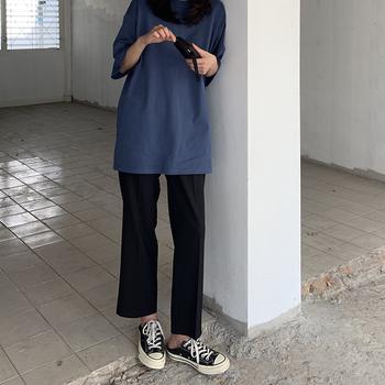 大码高腰垂感九分裤黑色直筒休闲裤