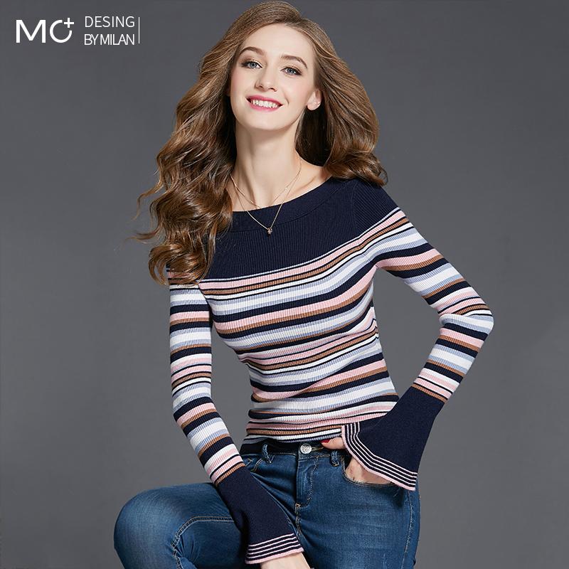 秋装2019年新款喇叭袖上衣女一字领针织衫修身条纹长袖打底毛衣