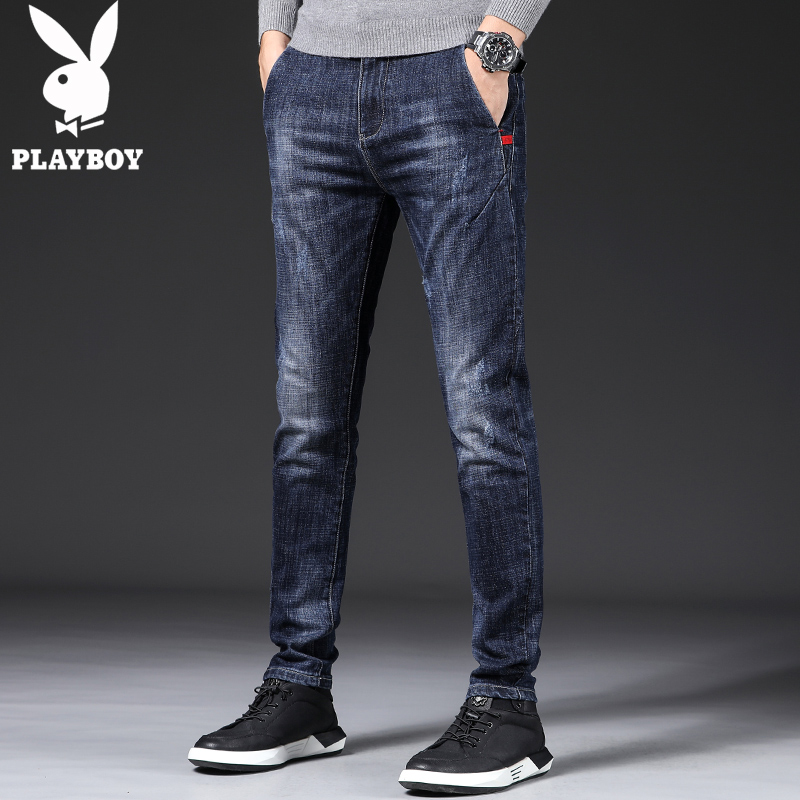 Playboy autumn and winter men's jeans men's trendy brand Korean version of self-cultivation feet high-end pants men's stretch and velvet