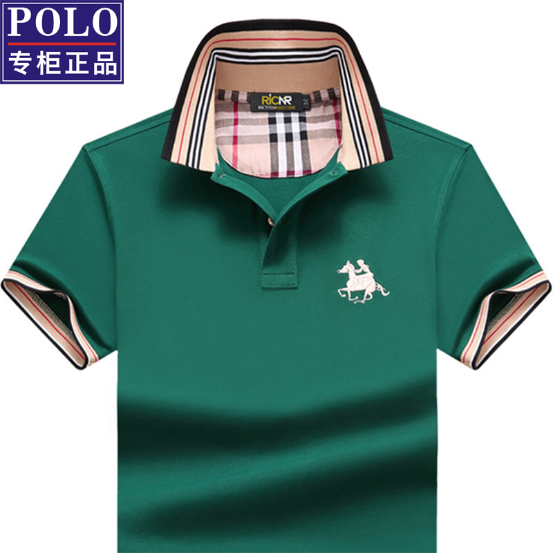 Mens short sleeve T-shirt Lapel large mens wear summer business casual middle age polo t-shirt solid color loose top