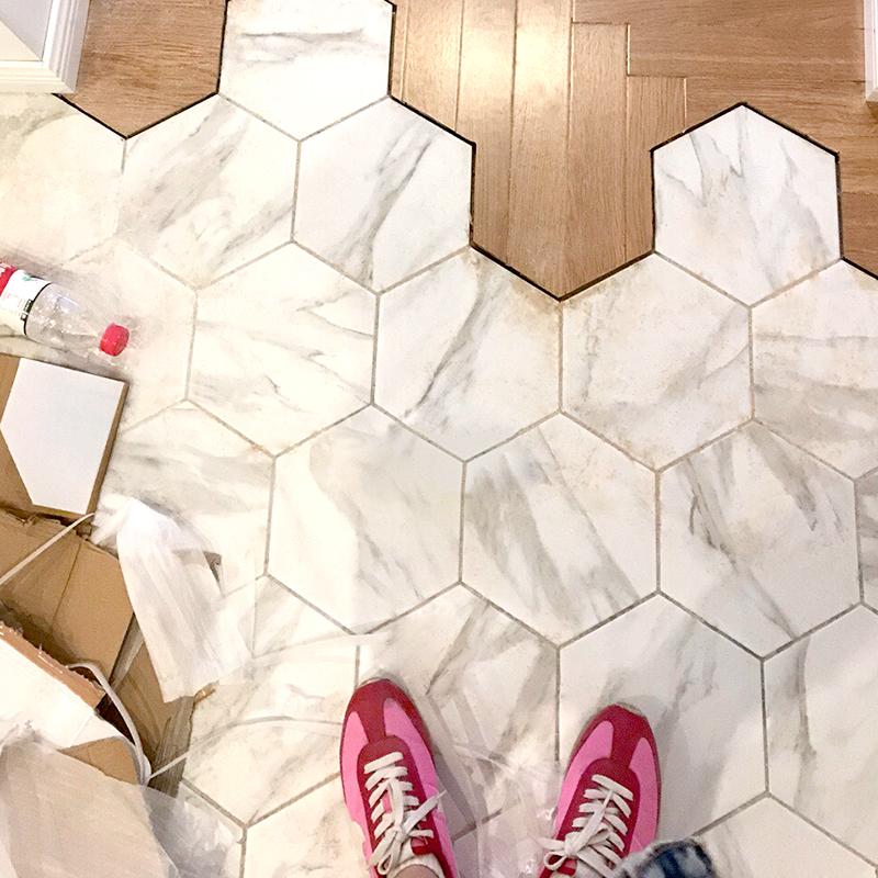 爵士白六角砖 北欧地砖大 菱形砖花砖复古马赛克卫生间六边形瓷砖