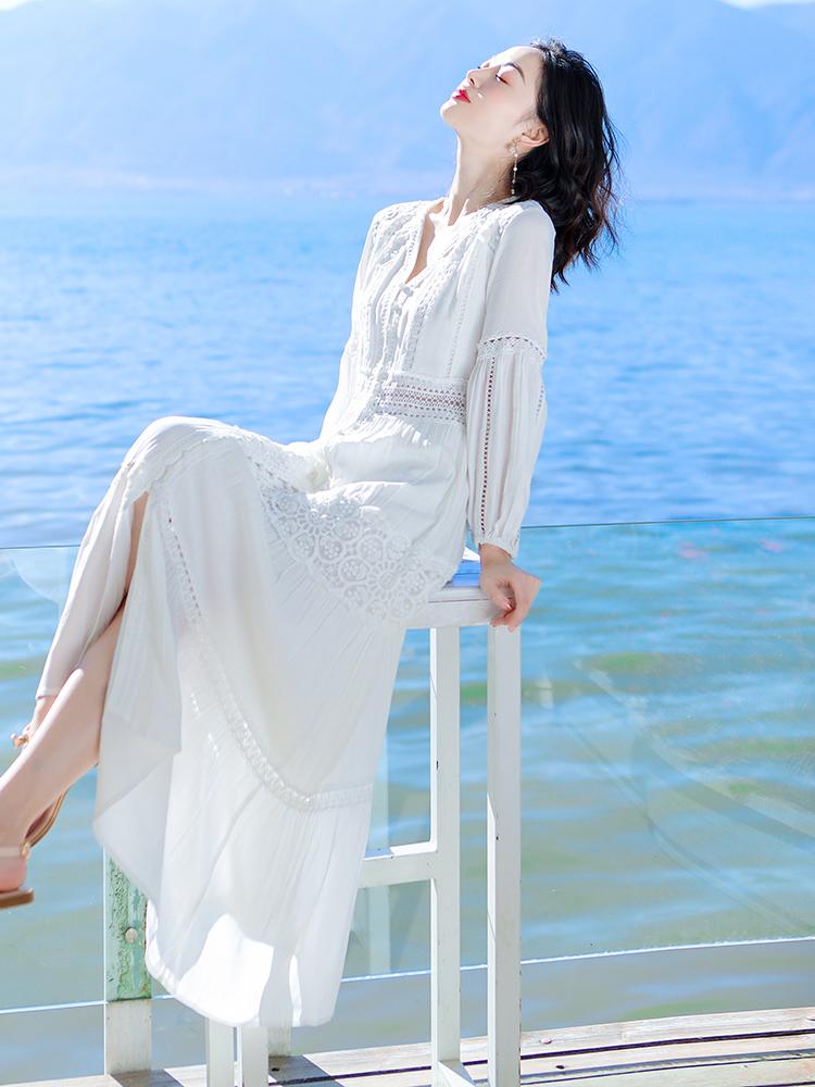 2020夏季新款女装白色长袖连衣裙超仙气质显瘦长裙海边度假沙滩裙