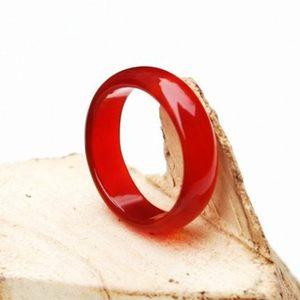 青云轩红玛瑙戒指水晶玉髓扳指南红戒指尾饰品戒情侣指环男女珠宝