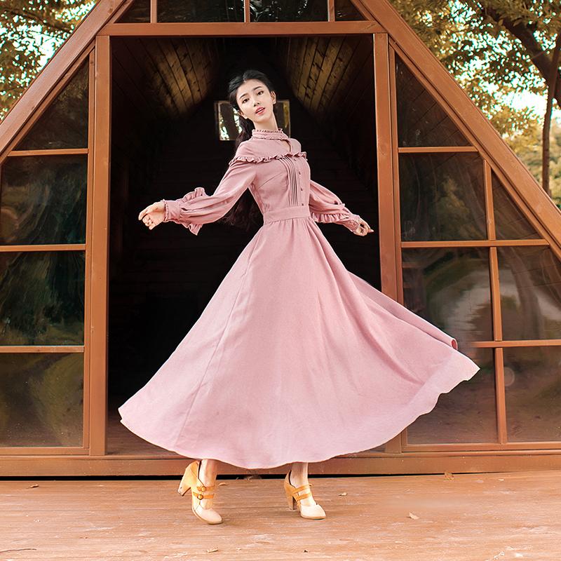 播喜女装 晚颜 秋季2019新款粉色高领荷叶边灯笼袖收腰大摆连衣裙238.00元包邮