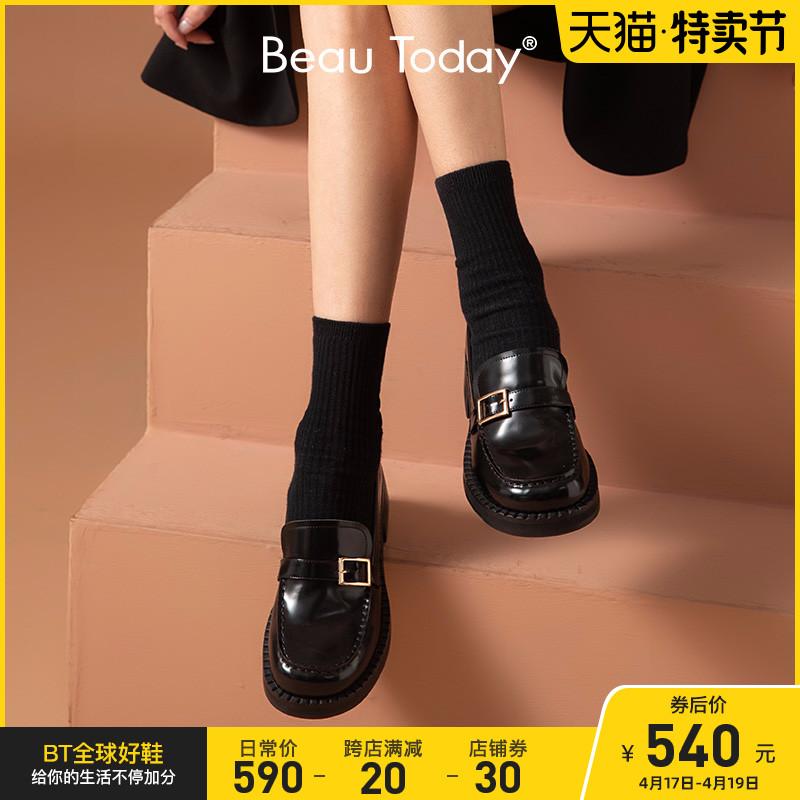 BeauToday2021春新款厚底乐福鞋女鞋复古英伦风小皮鞋日系女jk鞋