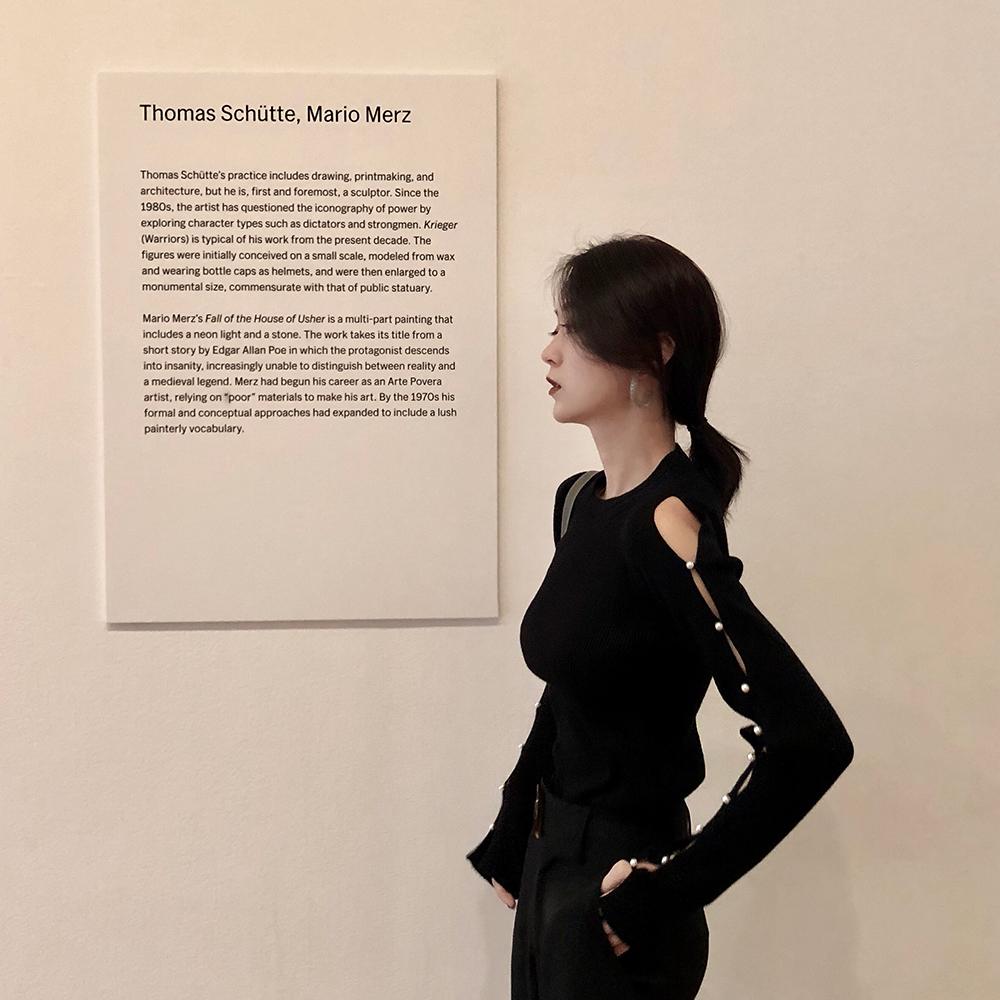 GYOKUU 秋季暗黑系风黑色女装潮设计针织衫修身显瘦性感露肩上衣