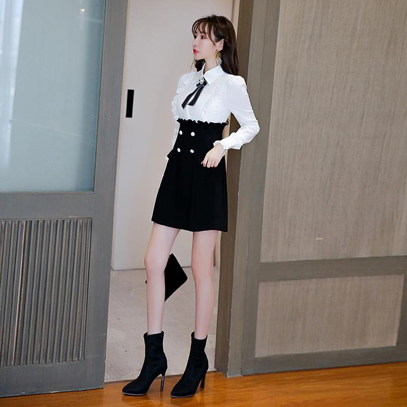秋装2021年新款女黑白衬衫假两件小个子小香风时尚气质连衣裙秋冬