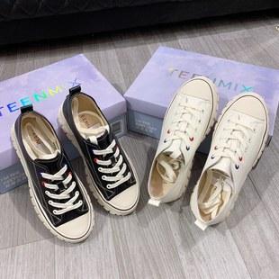 电影601秋季牛皮休闲厚底增高魔术贴系带女鞋2019小白鞋专柜正品INS