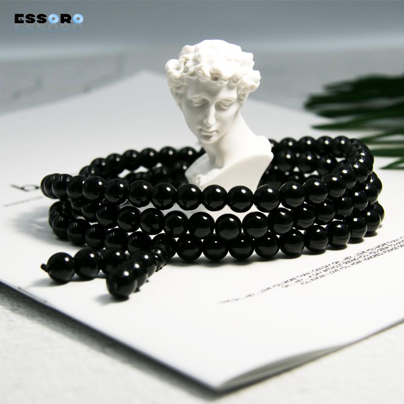 Buddhist beads Obsidian bracelet necklace mens 108 womens lovers Korean fashion personality boys and girls Bracelet