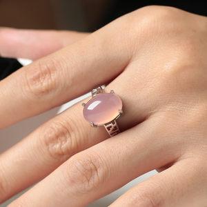 925银粉水晶戒指女芙蓉宝石时尚镶嵌玉髓食指开口个性百搭饰品