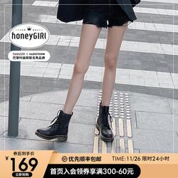 honeyGIRL马丁靴女2020新款英伦风短靴 百搭靴子冬加绒单靴秋冬季