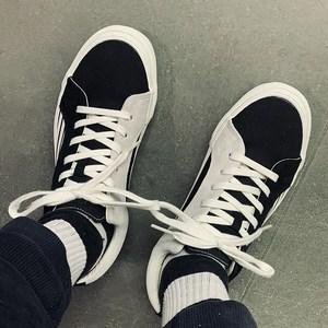 小众设计师品牌Lampin LX 黑白不对称宽体休闲帆布鞋os情侣滑板鞋