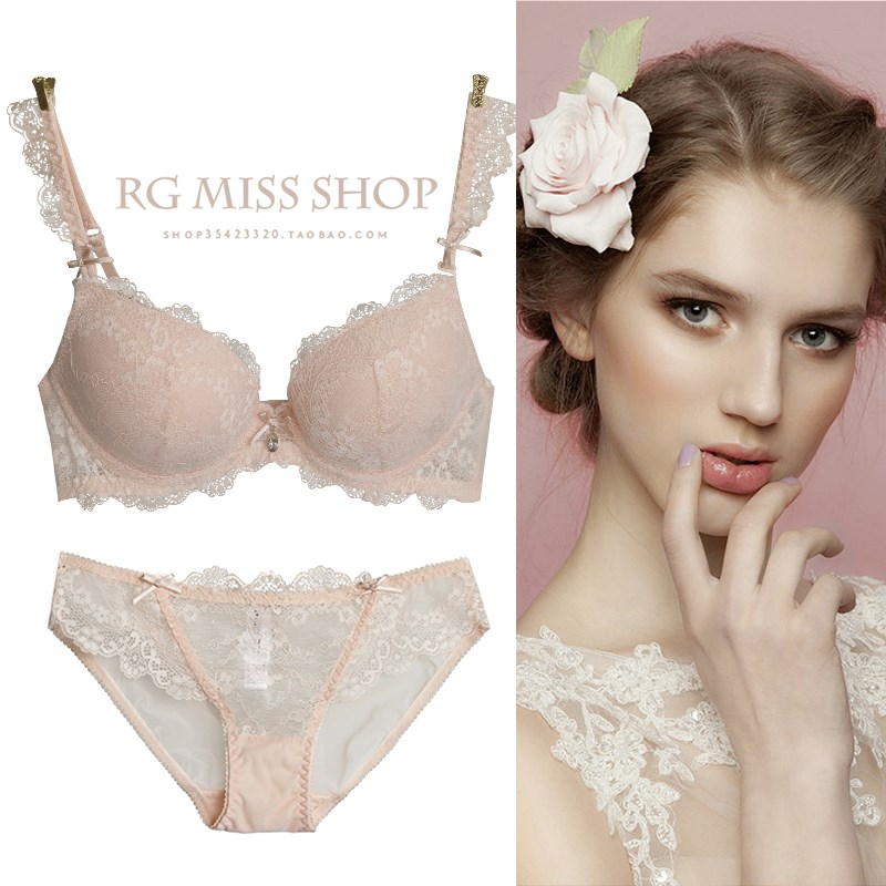 Victoria bra set sexy gathering lace thin top and thick bottom womens adjustable underwear small chest secret