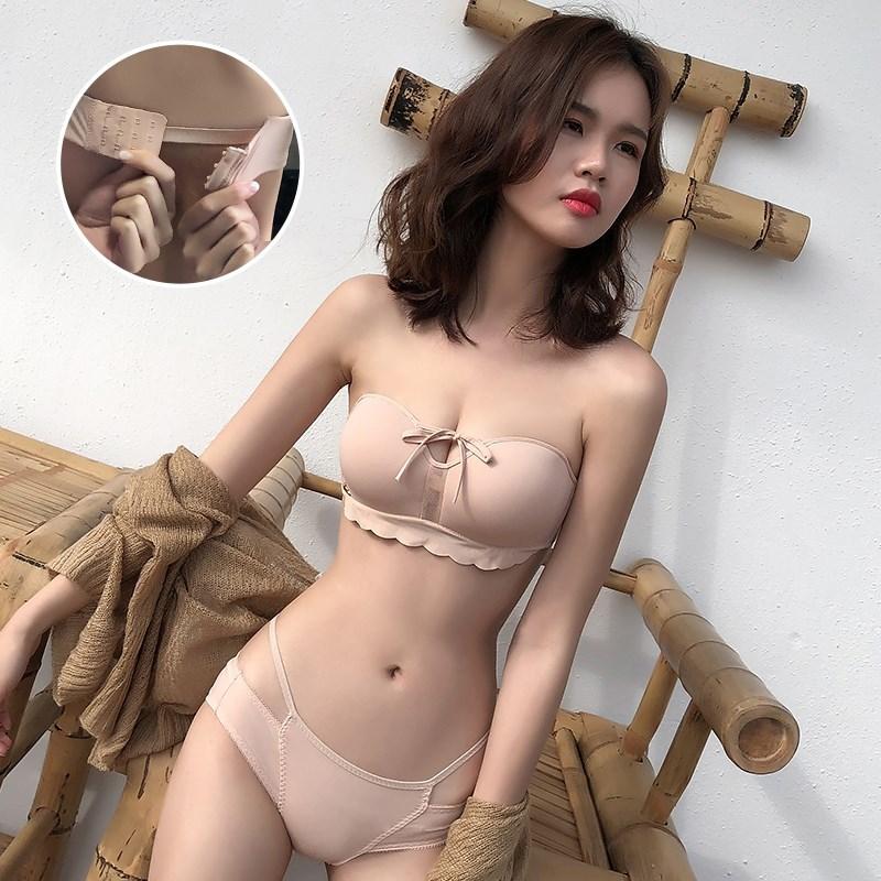 维多利亚小胸加厚无肩带女内衣聚拢防滑的秘密抹胸隐形无钢圈文胸