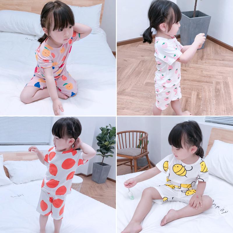 女童短袖睡衣夏季薄款纯棉1-3岁2婴儿童家居服套装4女宝宝空调服5