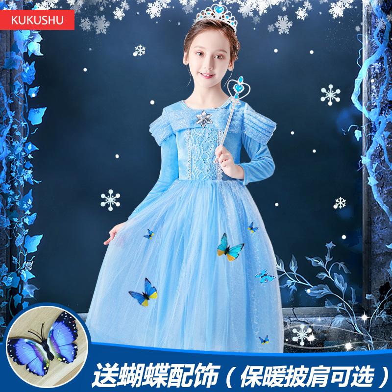 冰雪奇缘公主裙灰姑娘女童连衣裙蓬蓬纱爱莎2018秋万圣节儿童服装