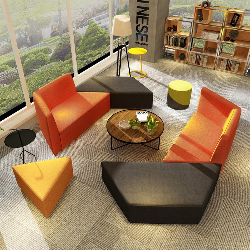 限4000张券培训中心家长休息区创意单位大厅办公室商务休闲会客接待沙发组合