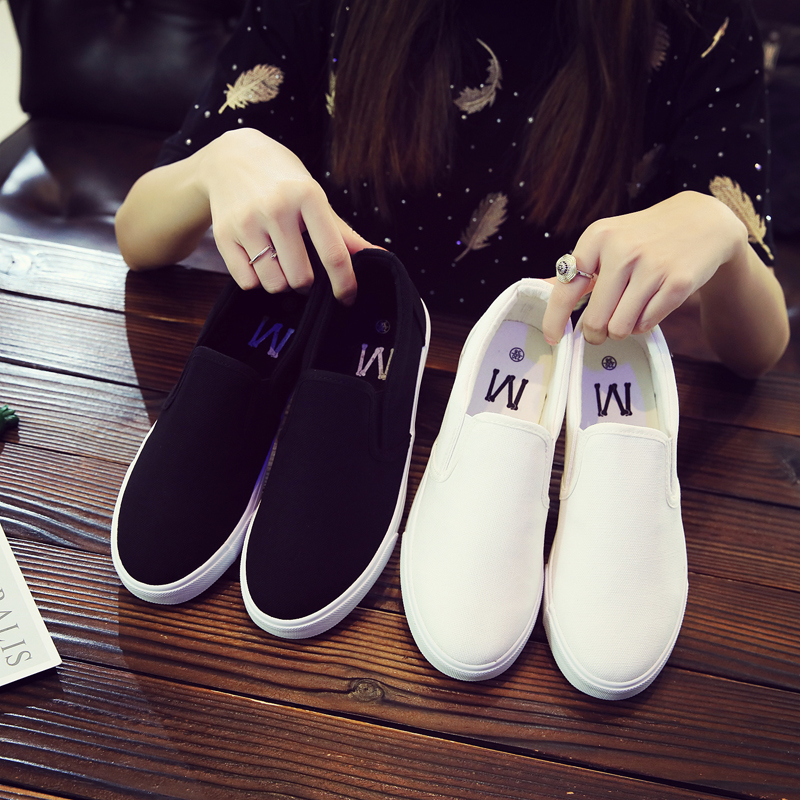 Autumn womens shoes 2018 lovers shoes breathable canvas shoes one legged lazy peoples sports casual shoes flat bottomed small white shoes