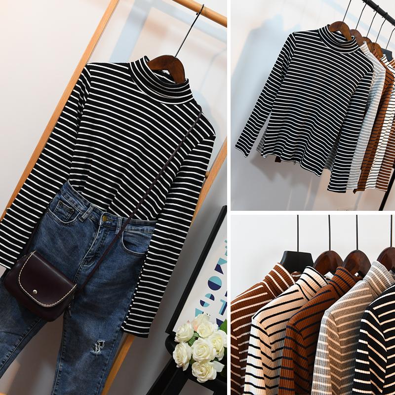 2021 autumn winter new Korean striped high collar bottoming shirt female long sleeve pure cotton student versatile thin T-Shirt Top