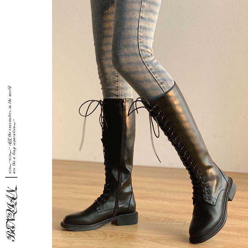 秋新款时尚高筒骑士靴百搭气质时装靴2020本千家推荐