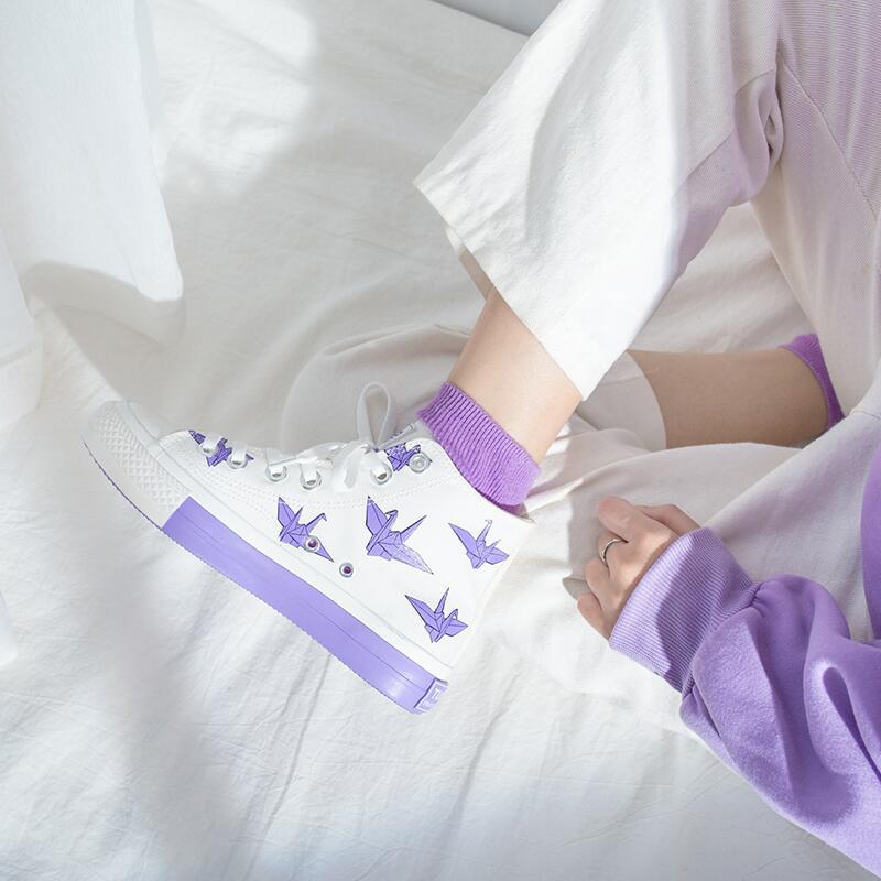 11-07新券鮀品千纸鹤高帮帆布鞋女2019秋款网红鞋子韩版泫雅风ins超火板鞋