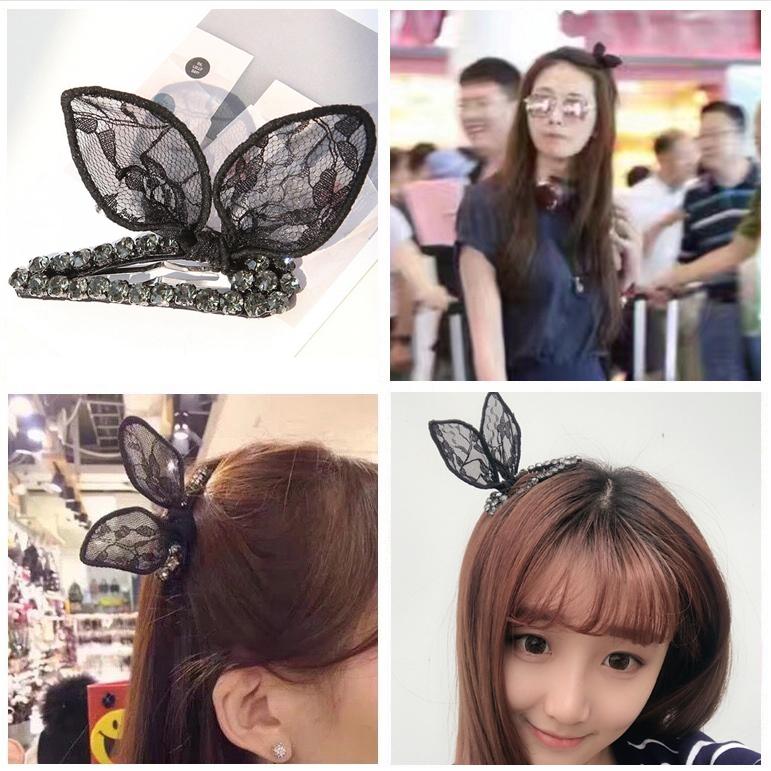 林志玲同款韩国兔耳朵发夹蕾丝蝴蝶结夹子学生夹头顶夹发饰鸭嘴夹