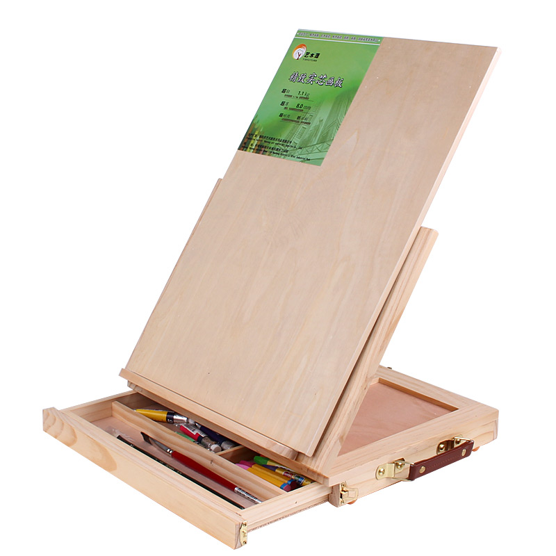 蒙玛特画板画架套装实木制小型儿童素描水彩写生双丰折叠桌面台式