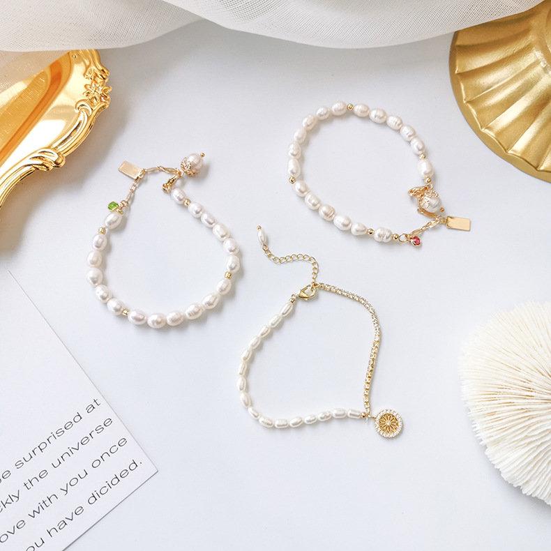 文艺复古手工不规则珍珠手链韩版流行时尚单圈手饰个性百搭饰品女