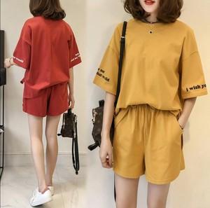 2020夏季韩版休闲运动宽松字母印花短袖T恤高腰短裤两件套女装