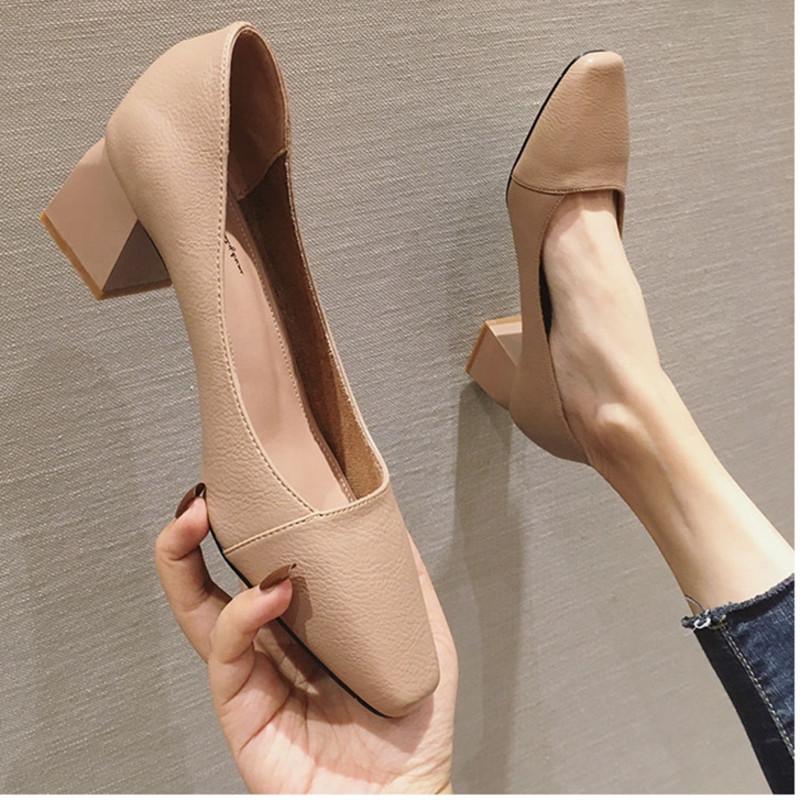 粗跟单鞋女2020春季新款韩版百搭方头中跟浅口网红高跟复古奶奶鞋