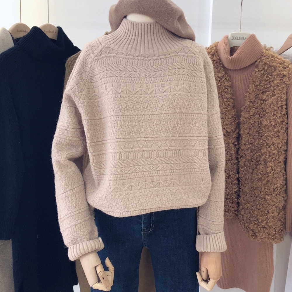 Chic wind new thickened half high neck sweater in winter of 2019 womens loose retro three-dimensional knitted sweater sweater cover