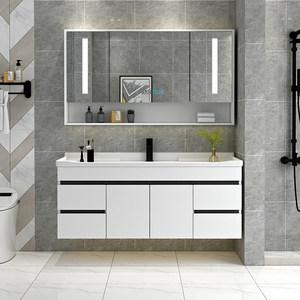 北欧卫生间实木浴室柜组合洗漱台洗脸洗手盆简约挂墙式小户型浴柜