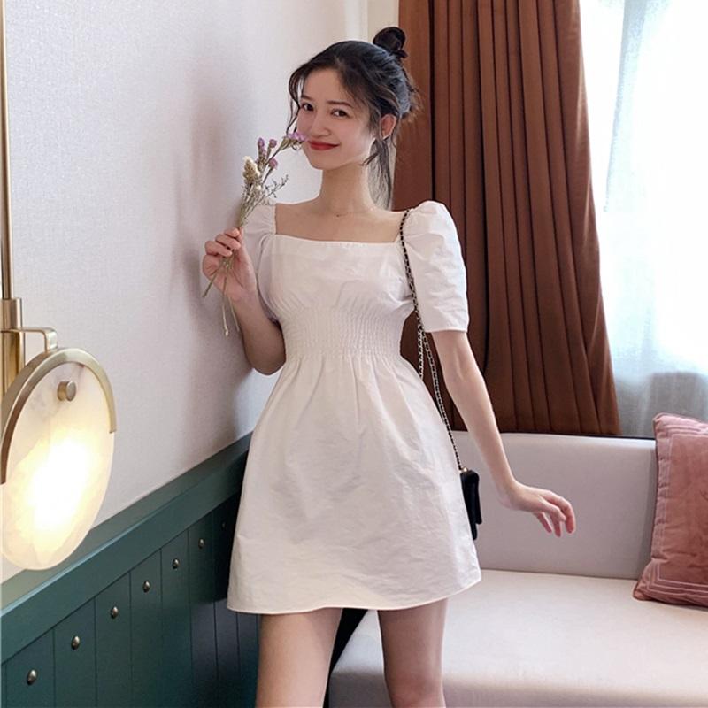 BZA 法式气质小白裙复古方领短袖收腰抽褶连衣裙A字短裙子女夏季满119.80元可用59.9元优惠券