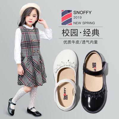 女童皮鞋黑色真皮单鞋小软底演出公主鞋白色2019秋季新款儿童鞋子