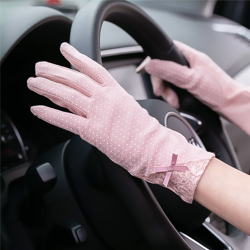 Sun proof gloves womens spring and autumn thin short antiskid breathable UV proof cotton touch screen summer driving and riding gloves