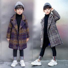 男童外套格子2020新款秋季呢子大衣中长款中大童男装加厚毛呢大衣