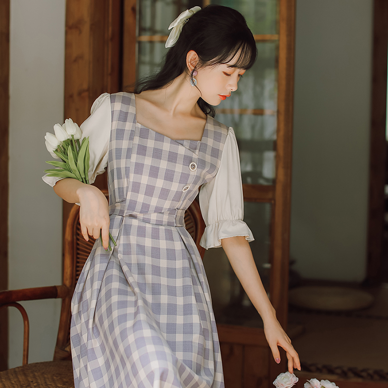 New cheongsam style square collar improved version dress, female summer sweet, French first love, salt and sweet skirt.