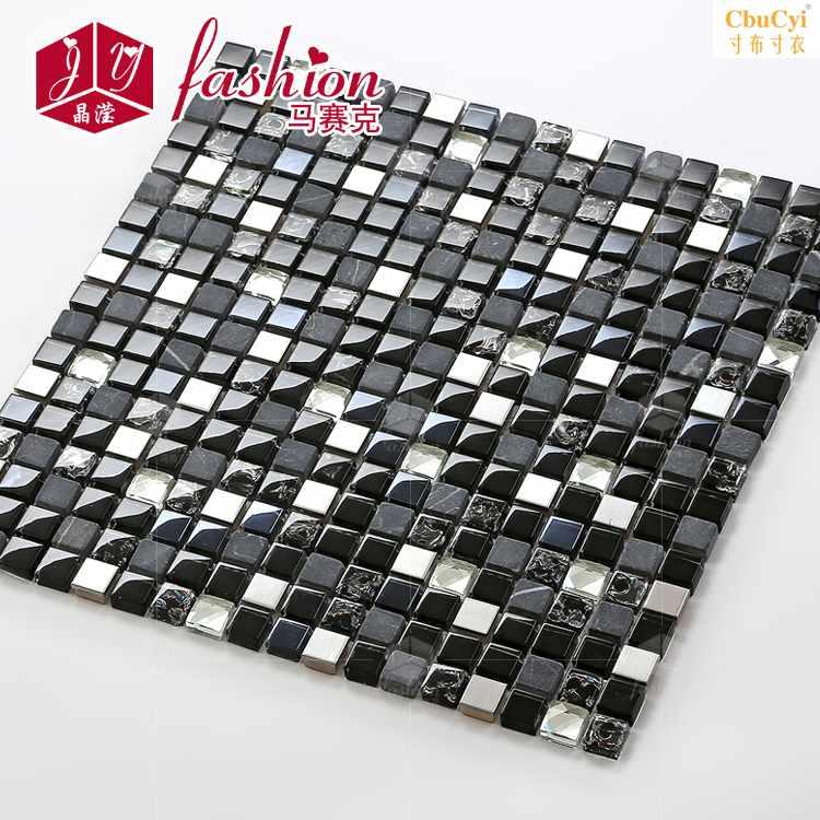 晶滢 客厅卫生间石材冰裂水晶玻璃黑色马赛克瓷砖电视背景墙水钻限时抢购