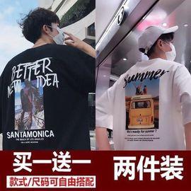 夏季男士t恤男短袖韩版宽松潮牌半袖衣服男装打底衫学生印花上衣图片