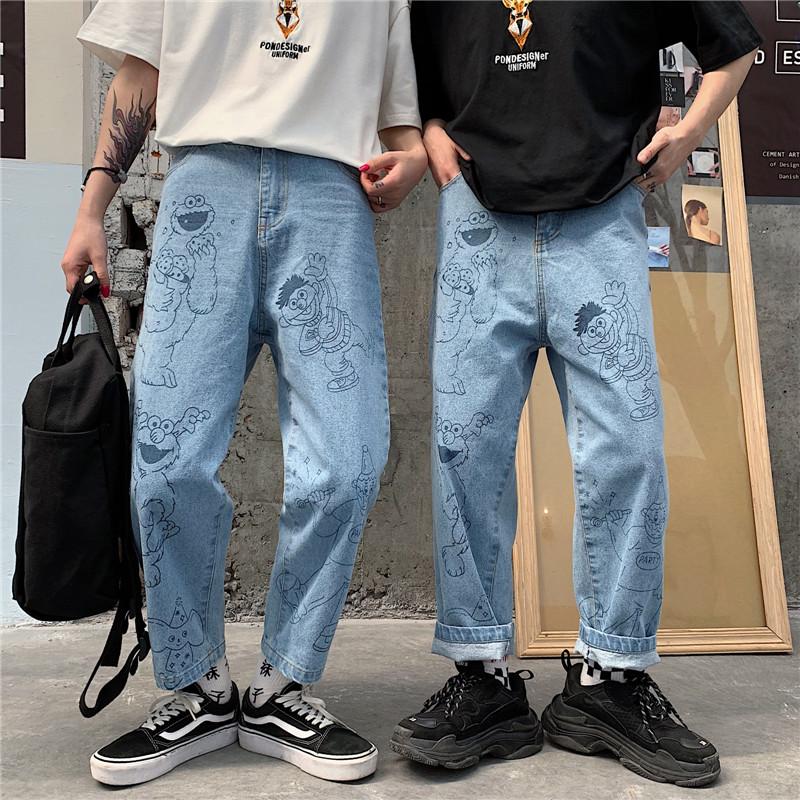 Guochao summer sesame street jeans print Yaya cartoon Capris wide leg straight pants kaws lovers