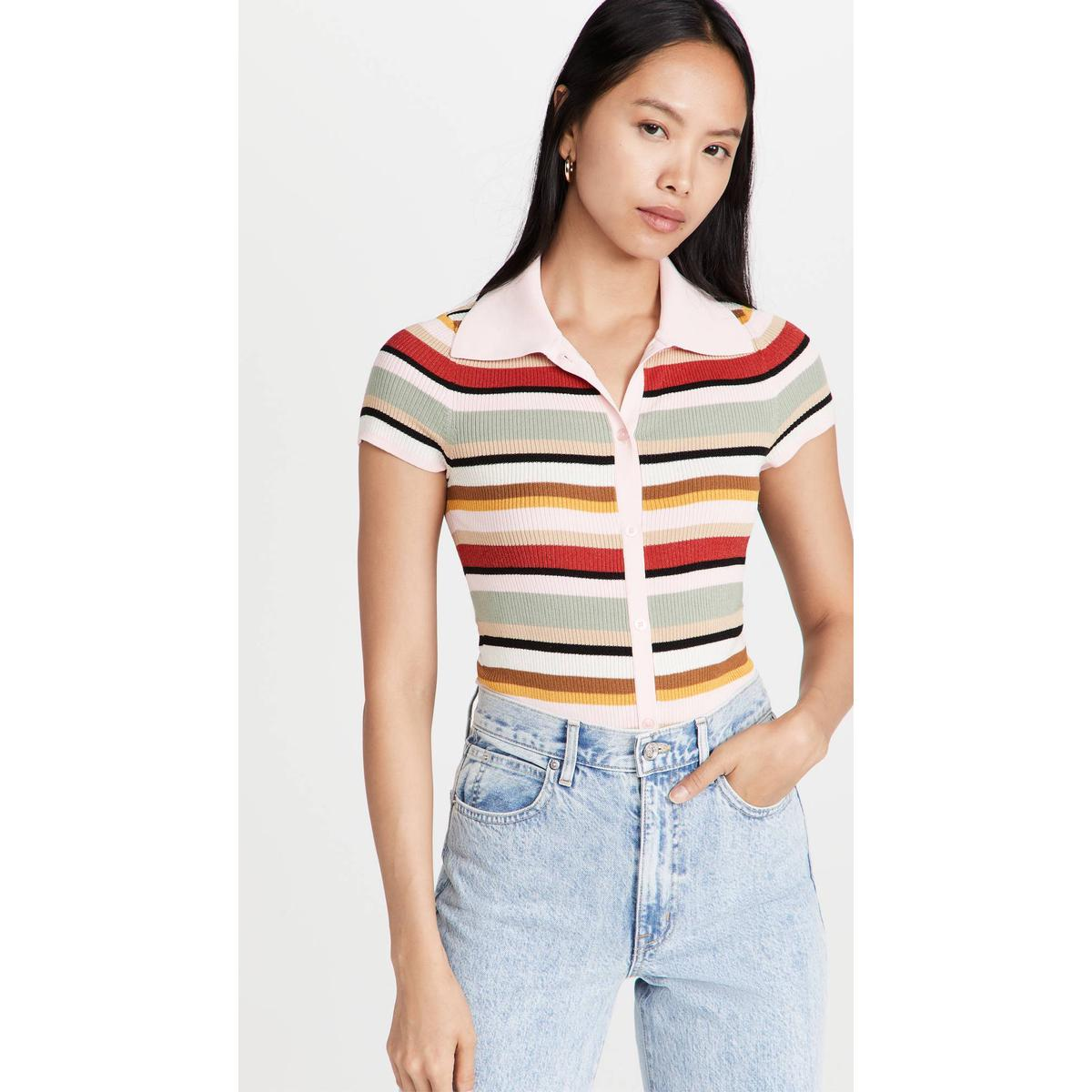 Purchase Alice Olivia Colleen striped polo shirt polo shirt womens 2021 NEW