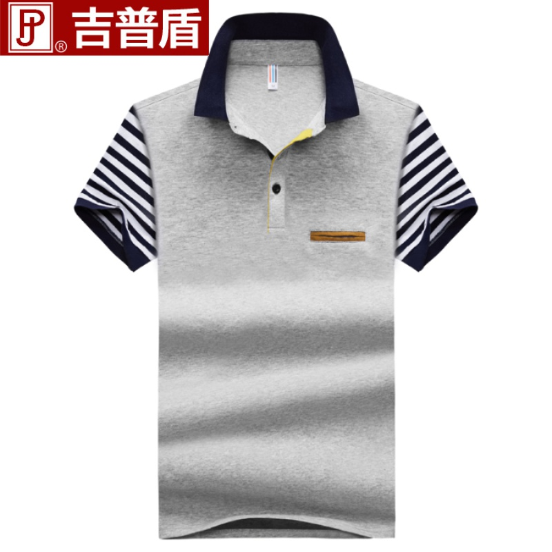 Jeep shield short sleeve t-shirt mens Lapel loose cotton t-shirt mens business leisure trend mens wear