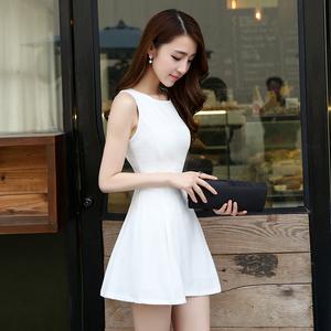 气质小黑裙2020夏季新款修身显瘦小个子无袖背心短裙雪纺连衣裙女