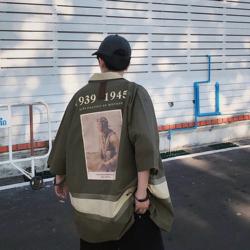 已编辑~一件很洋气的印花宽松短袖衬衫1016 A057  P75 X88