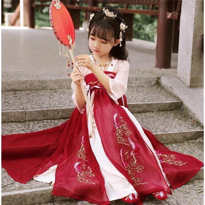 旗铂汉服女童小女孩古装童装儿童汉服唐装中国风超仙襦裙礼服春秋