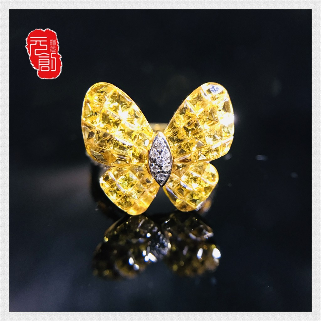 Yuanchuang times new 18K golden sapphire Butterfly Ring