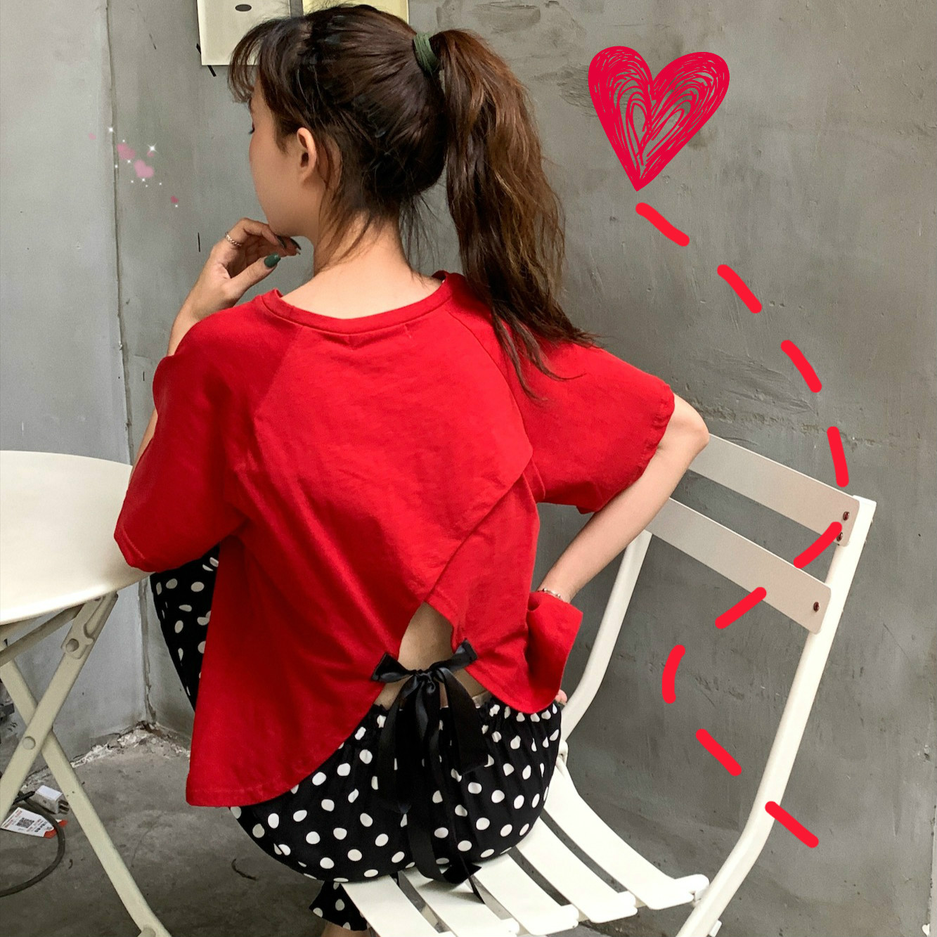 實拍控價30-34 背后蝴蝶結短袖T恤純色系帶小心機露背上衣女寬松