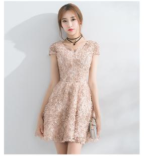 晚礼服2021新款高贵名媛韩版短款毕业宴连衣裙法式小礼服平时可穿
