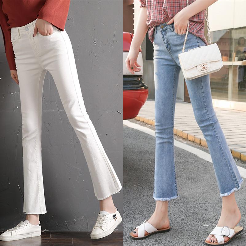 微喇牛仔裤女2020新款白色弹力修身显瘦九分裤小个子微喇裤喇叭裤图片