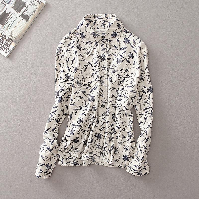 外贸原单女装 韩版修身棉麻森女长袖衬衫 纯亚麻面料文艺印花特价